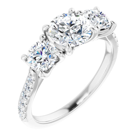 2.12 CTW Round Cut Forever One Moissanite | Platinum Three Stone Engagement Ring with Pave Band | Size 7