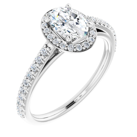 1.09 CTW Oval Cut Forever One Moissanite | Platinum Halo Engagement Ring with Pave Band | Size 7
