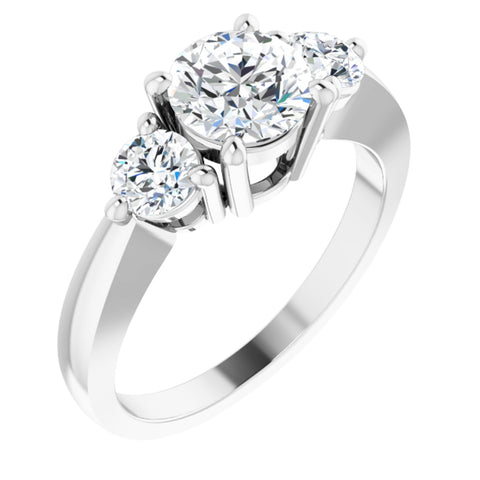 1.5 CTW Round Cut Cubic Zirconia | Sterling Silver Three-Stone Ring Anniversary Band | Size 8