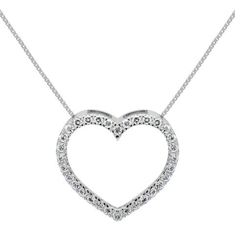 14K Solid White Gold Open Heart Pendant | Pave Round Cut Cubic Zirconia Necklace| .35 CTW | 16 Inch Box Link Chain | With Gift Box