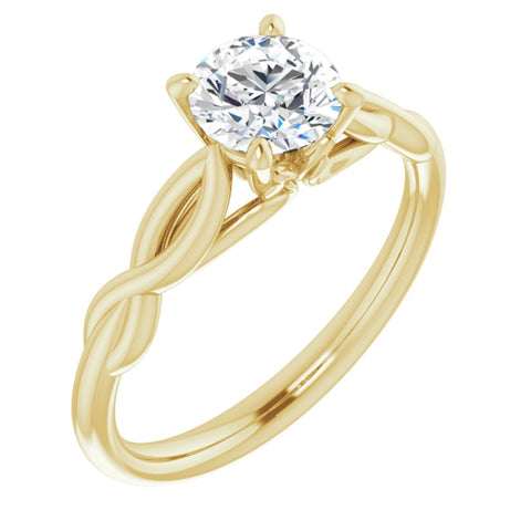 .75 CT Round Cut Forever Brilliant Moissanite in Solid 14K Yellow Gold Infinity Solitaire Engagement Ring