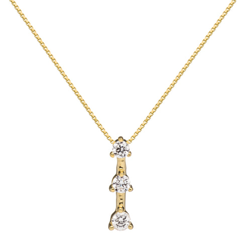 "14K Solid Yellow Gold Pendant Necklace | Round Cut Cubic Zirconia 3-Stone ""Trilogy"" 
