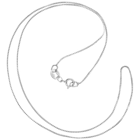 14K Solid White Gold Necklace | Box Link Chain | 14 Inch Length | .60mm Thick