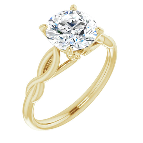 2.0 CT Round Cut Forever Brilliant Moissanite in Solid 14K Yellow Gold Infinity Solitaire Engagement Ring