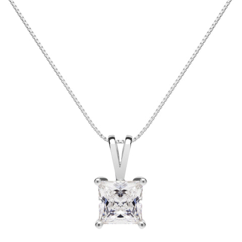 14K Solid White Gold Pendant Necklace | Princess Cut Cubic Zirconia Solitaire | 1 Carat | 16 Inch Box Link Chain