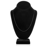 14K Solid White Gold Necklace | Box Link Chain | 20 Inch Length | .60mm Thick