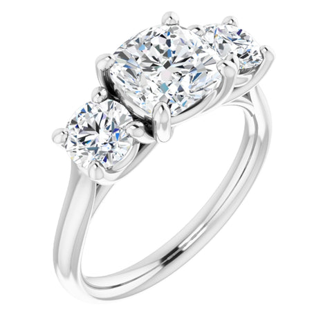 2.88 CTW Cushion Cut Forever One Moissanite | Platinum Three Stone Engagement Ring Anniversary Band | Size 7