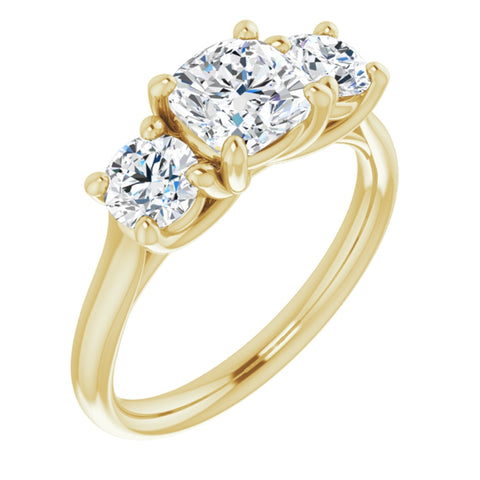 1.96 CTW Cushion Cut Forever Brilliant Moissanite | 14K Yellow Gold Three Stone Engagement Ring Anniversary Band | Size 7
