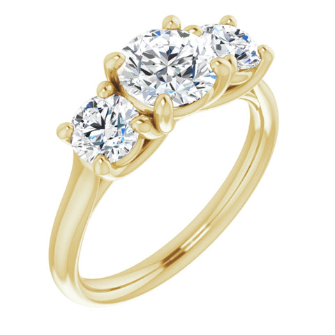 2.59 CTW Round Cut Forever Brilliant Moissanite | 14K Yellow Gold Three Stone Engagement Ring Anniversary Band | Size 7