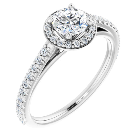 0.79 CTW Round Cut Forever One Moissanite | 14K White Gold Halo Engagement Ring with Pave Band | Size 7