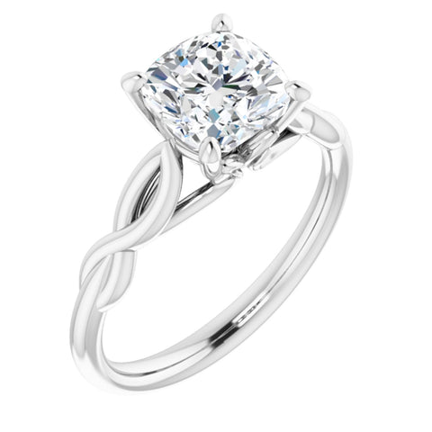 1.75 CT Cushion Cut Forever Brilliant Moissanite in Solid 14K White Gold Infinity Solitaire Engagement Ring