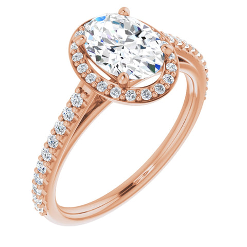 1.54 CTW Oval Cut Forever One Moissanite | 14K Rose Gold Halo Engagement Ring with Pave Band | Size 7