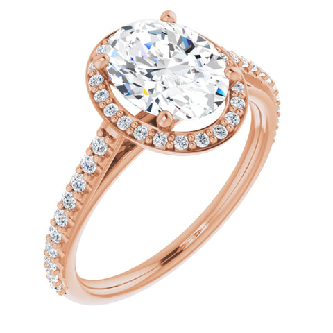 2.19 CTW Oval Cut Forever Brilliant Moissanite | 14K Rose Gold Halo Engagement Ring with Pave Band | Size 7