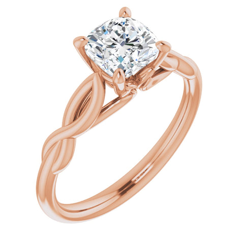 1.125 CT Antique Square Cushion Cut Forever Brilliant Created Moissanite set in Solid 14K Rose Gold Infinity-Inspired Solitaire Engagement Ring Size 7