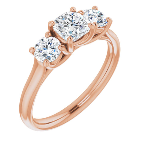 1.21 CTW Cushion Cut Forever One Moissanite | 14K Rose Gold Three Stone Engagement Ring Anniversary Band | Size 7