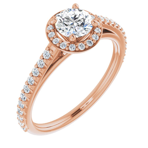 0.79 CTW Round Cut Forever One Moissanite | 14K Rose Gold Halo Engagement Ring with Pave Band | Size 7