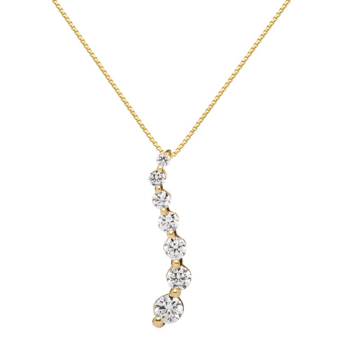 "14K Solid Yellow Gold Pendant Necklace | Round Cut Cubic Zirconia ""Journey"" 7-Stone 