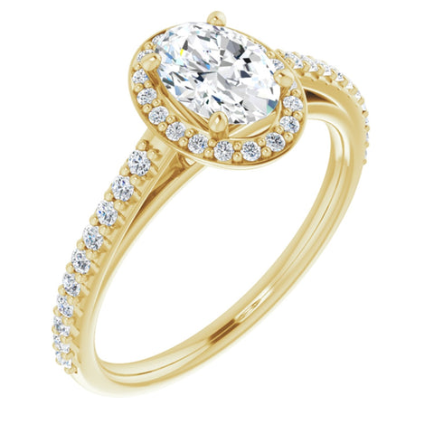 1.09 CTW Oval Cut Forever Brilliant Moissanite | 14K Yellow Gold Halo Engagement Ring with Pave Band | Size 7