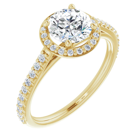 1.36 CTW Round Cut Forever One Moissanite | 14K Yellow Gold Halo Engagement Ring with Pave Band | Size 7