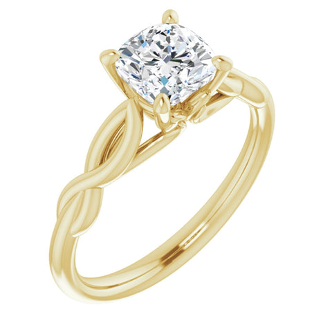 1.125 CT Cushion Cut Forever One Moissanite in Solid 14K Yellow Gold Infinity Solitaire Engagement Ring