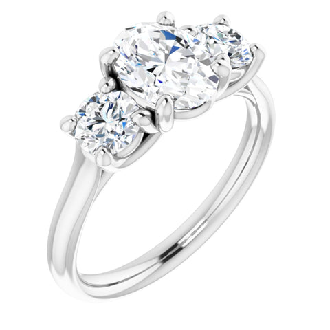 1.93 CTW Oval Cut Forever Brilliant Moissanite | 14K White Gold Three Stone Engagement Ring Anniversary Band | Size 7