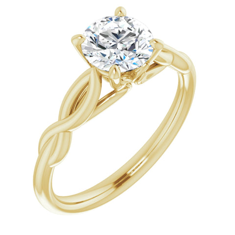 1.0 CT Round Cut Forever Brilliant Moissanite in Solid 14K Yellow Gold Infinity Solitaire Engagement Ring