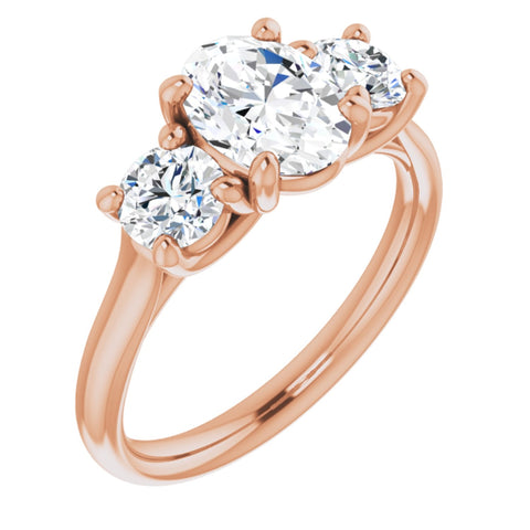 1.93 CTW Oval Cut Forever One Moissanite | 14K Rose Gold Three Stone Engagement Ring Anniversary Band | Size 7