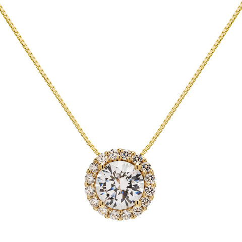 "14K Solid Yellow Gold Pendant Necklace | Round ""Halo"" Cubic Zirconia Solitaire 