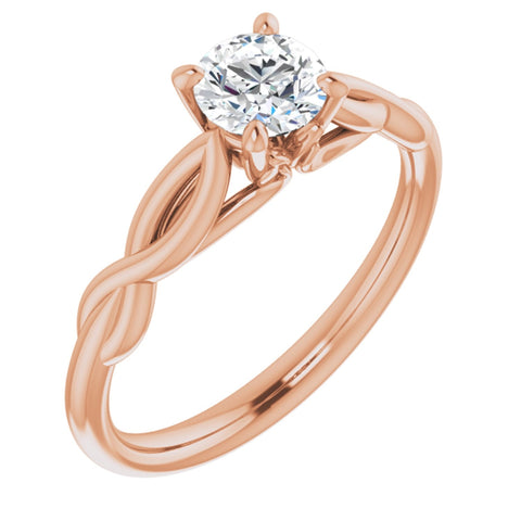 .50 Carat Round Cut Forever One Created Moissanite set in Solid 14K Rose Gold Infinity-Inspired Solitaire Engagement Ring Size 7