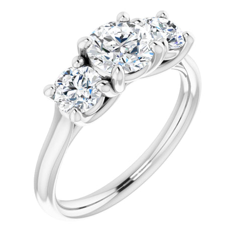 1.56 CTW Round Cut Forever Brilliant Moissanite | 14K White Gold Three Stone Engagement Ring Anniversary Band | Size 7