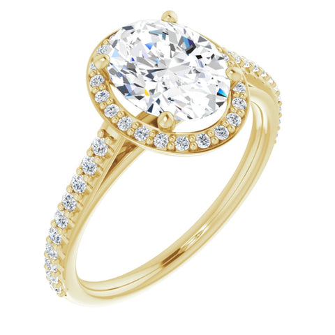 2.19 CTW Oval Cut Forever Brilliant Moissanite | 14K Yellow Gold Halo Engagement Ring with Pave Band | Size 7