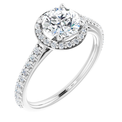 1.36 CTW Round Cut Forever Brilliant Moissanite | 14K White Gold Halo Engagement Ring with Pave Band | Size 7