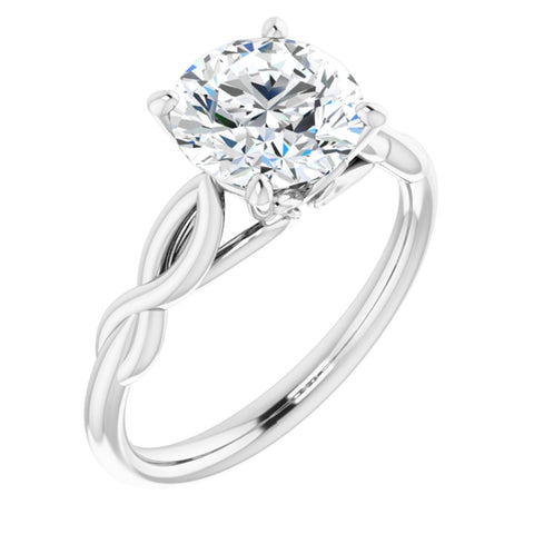 2.0 Carat Round Cut Forever One Created Moissanite set in Solid 14K White Gold Infinity-Inspired Solitaire Engagement Ring Size 7