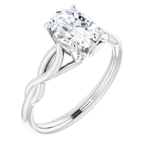 1.50 Carat Oval Cut Forever Brilliant Created Moissanite set in Solid Platinum Infinity-Inspired Solitaire Engagement Ring Size 7