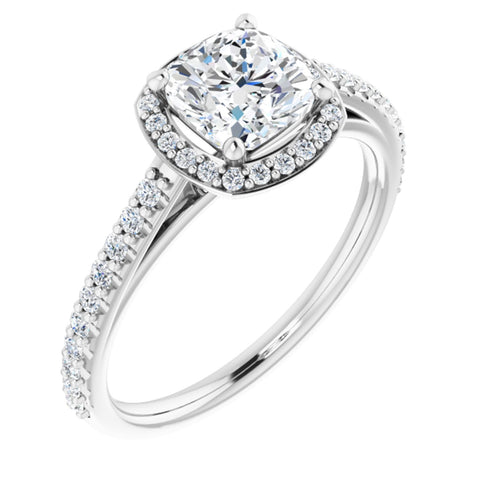1.57 CTW Cushion Cut Forever One Moissanite | 14K White Gold Halo Engagement Ring with Pave Band | Size 7