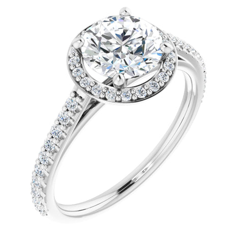 1.61 CTW Round Cut Forever Brilliant Moissanite | 14K White Gold Halo Engagement Ring with Pave Band | Size 7