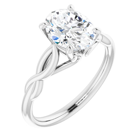 2.125 Carat Oval Cut Forever One Created Moissanite set in Solid 14K White Gold Infinity-Inspired Solitaire Engagement Ring Size 7