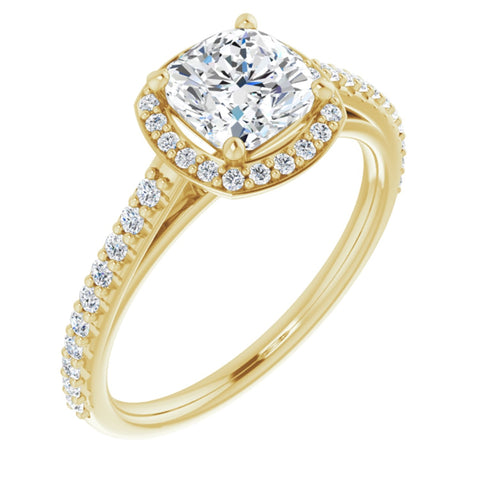 1.57 CTW Cushion Cut Forever One Moissanite | 14K Yellow Gold Halo Engagement Ring with Pave Band | Size 7