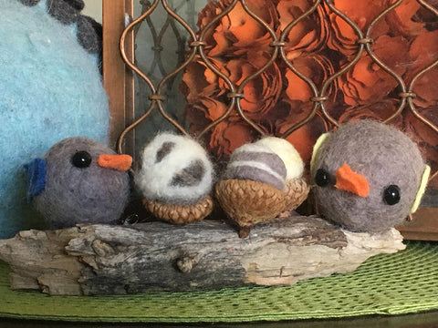 image of felted birds and acorns