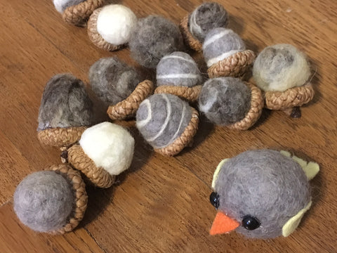 image of felted acorns