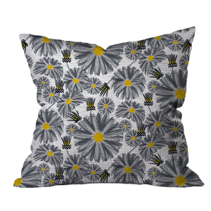 Aster Garden BW Floral Pillow Cover