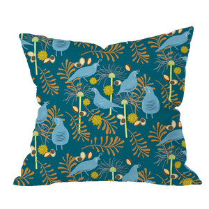 Autumn Quail Floral Pillow Cover