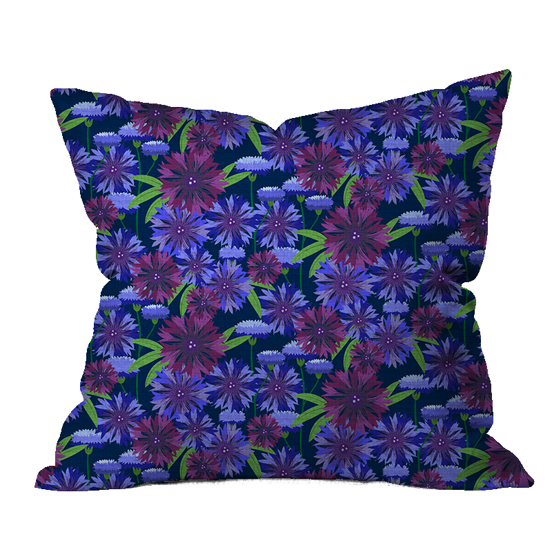 Bachelor Buttons Outdoor Floral Pillow