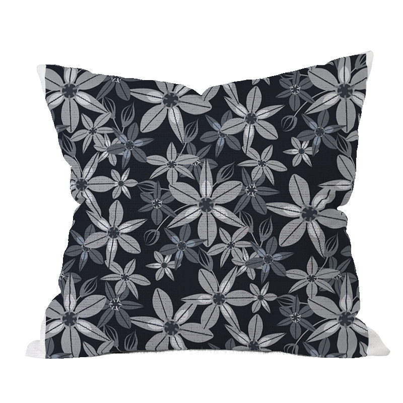 Balloon Flower BWG Floral Pillow Cover