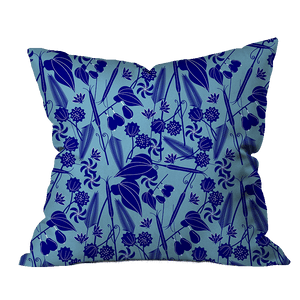 Blue Garden Floral Pillow Cover