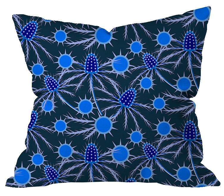 Blue Thistle Midnight Pillow Cover