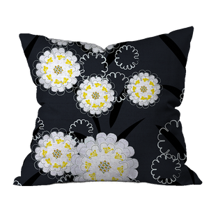 Candytuft Midnight Floral Pillow Cover