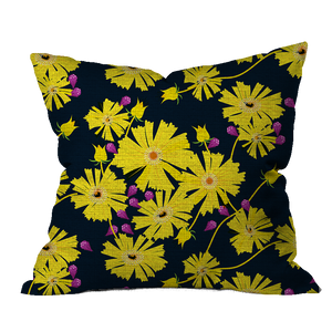 Coreopsis and Buds Floral Pillow Cover