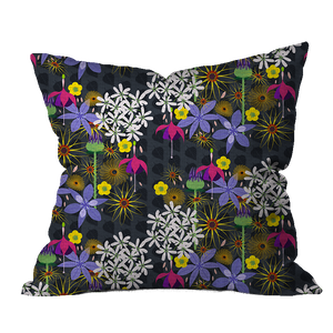 English Garden Midnight Floral Pillow Cover