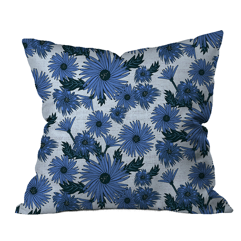 Fall Asters Floral Pillow Cover